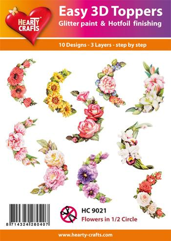 HEARTY CRAFTS EASY 3D TOPPERS FLOWERS 1/2 CIRCLE