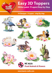HEARTY CRAFTS EASY 3D TOPPERS POND ANIMALS FLOWERS