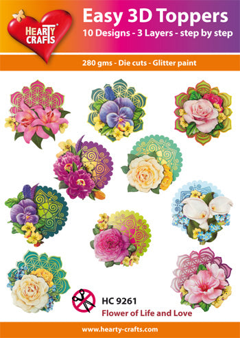 HEARTY CRAFTS EASY 3D TOPPERS  FLOWERS OF LIVE AND LOVE