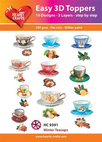 HEARTY CRAFTS EASY 3D TOPPERS WINTER TEACUPS