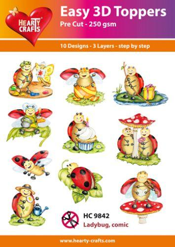 HEARTY CRAFTS EASY 3D TOPPERS  LADY BUG COMIC