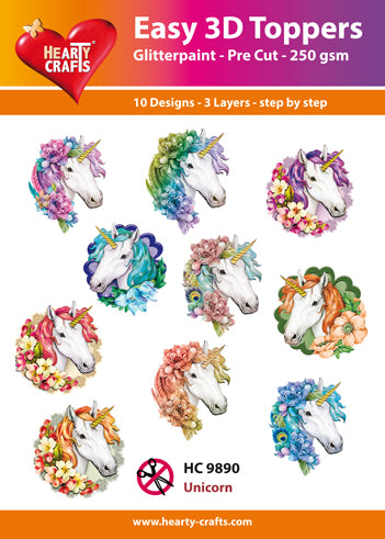 HEARTY CRAFTS EASY 3D TOPPERS UNICORN