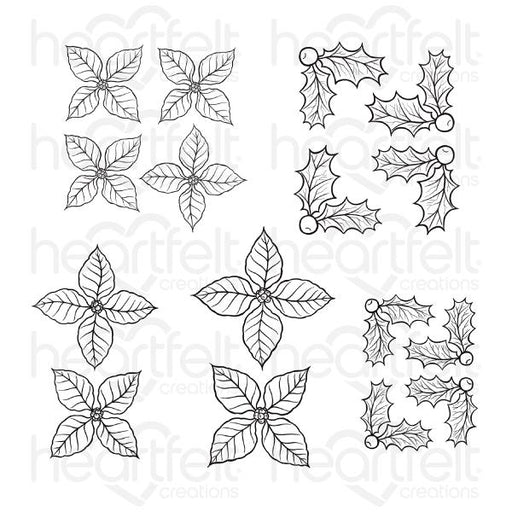 HEARTFELT CREATIONS CHRISTMAS POINSETTIA & HOLLY CLING STAMP