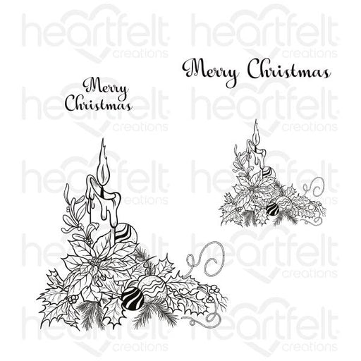 HEARTFELT CREATIONS CANDLELIT POINSETTIA CLING STAMP SET