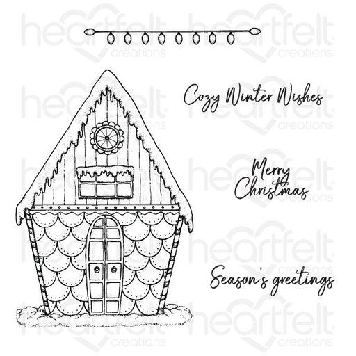 HEARTFELT CREATIONS  CANDY CANE COTTAGE CLING STAMP SET