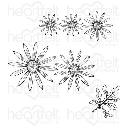 HEARTFELT CREATIONS   WILD ASTER CLING STAMP SET