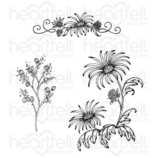 HEARTFELT CREATIONS  WILD ASTER SPRAY CLING STAMP SET