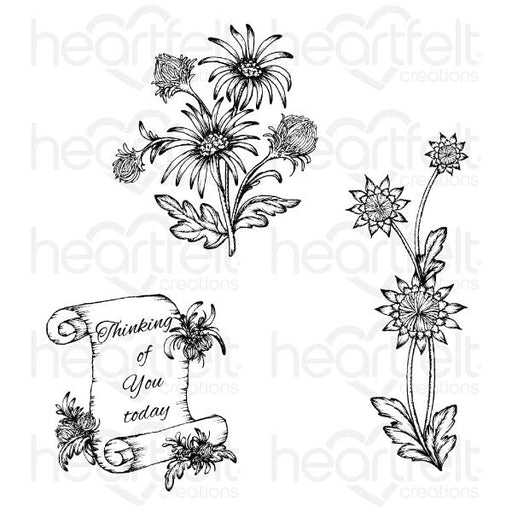 HEARTFELT CREATIONS  WILD ASTER SCROLL & CLUSTER CLING STAMP