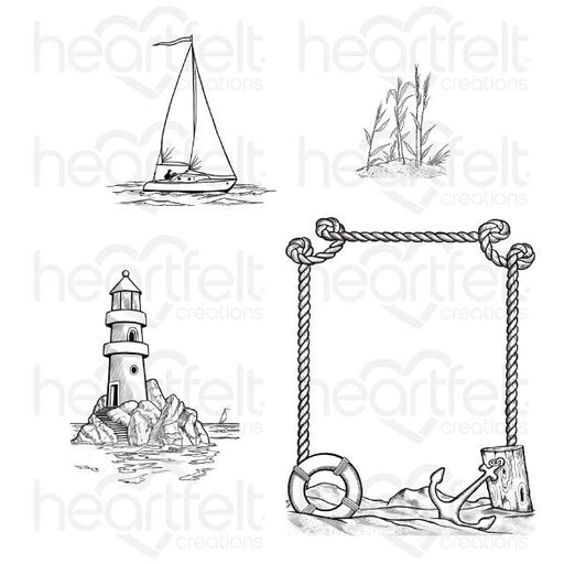 HEARTFELT CREATIONS  A DAY AT SEA CLING STAMP SET