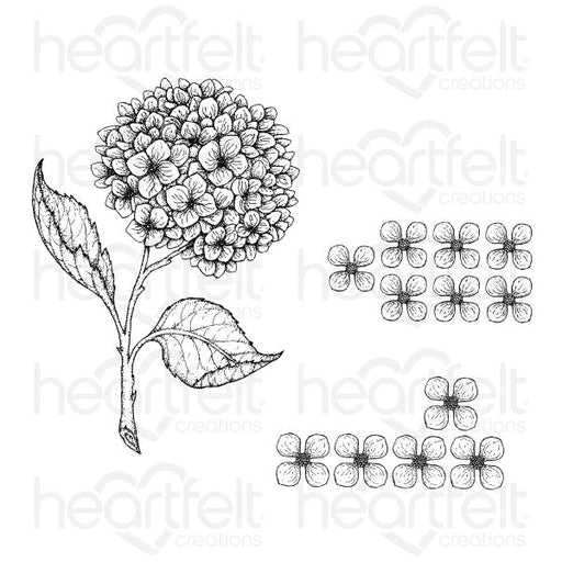 HEARTFELT CREATIONS COTTAGE GARDEN HYDRANGEA CLING STAMP SET