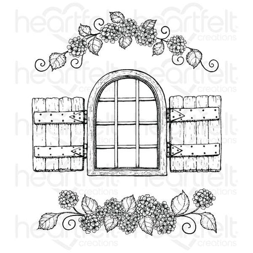 HEARTFELT CREATIONS   COTTAGE WINDOW & HYDRANGEA CLING STAMP SET