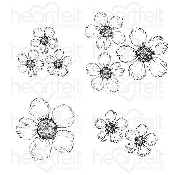HEARTFELT   SMALL WILD ROSE CLING STAMP SET