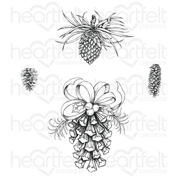 HEARTFELT  FESTIVE PINE CONES CLING STAMP SET(Pre order now shipping Mid July 2020)