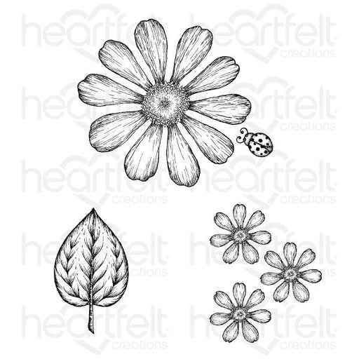 HEARTFELT CREATIONS   LARGE GARDEN ZINNIA CLING STAMP SET