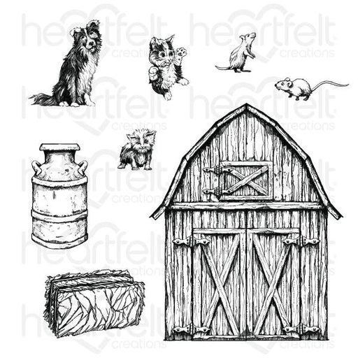 HEARTFELT CREATIONS   HOME ON THE FARM CLING STAMP SET.