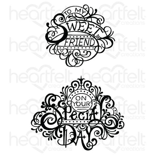 HEARTFELT CREATIONS   FANCY SPECIAL DAY CLING STAMP SET.