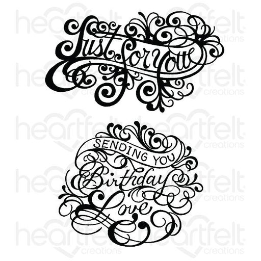 HEARTFELT CREATIONS  ORNATE JUST FOR YOU CLING STAMP SET.