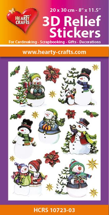 HEARTY CRAFTS 3D  RELIEF STICKERS  SNOWMAN