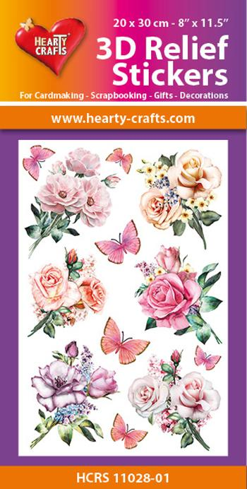 HEARTY CRAFTS 3D  RELIEF STICKERS  ROSES