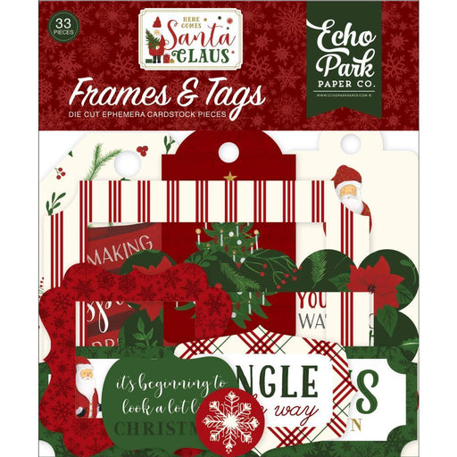 ECHO PARK  DECORATIVE FRAMES AND TAGS HERE COMES SANTA CLAUS