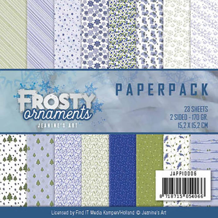 JEANINES ART 6X6 PAPER PAD  FROSTY ORNAMENTS