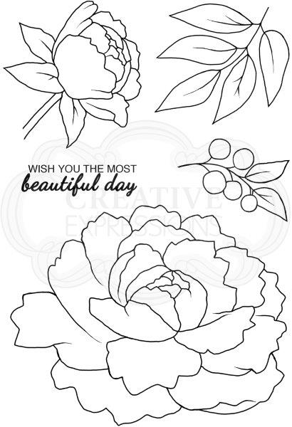 WOODWARE  CLEAR STAMPS   PEONY BLOOM