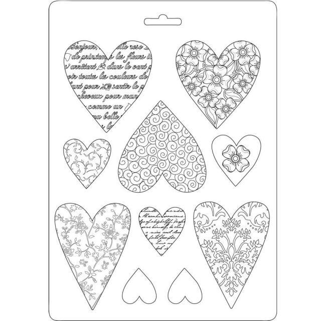 STAMPERIA SOFT MOULDS A5 HEARTS