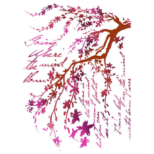 STAMPERIA STENCIL 21CM X 29CM   BRANCHES WITH WRITINGS