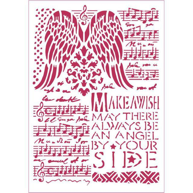 STAMPERIA STENCIL 21CM X 29CM MUSIC AND WINGS