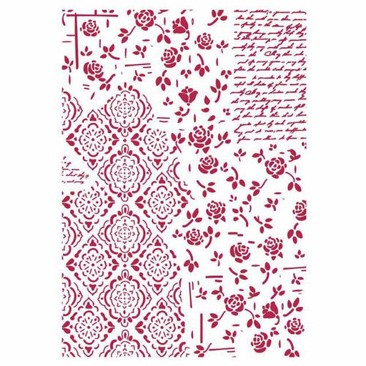 STAMPERIA STENCIL 21CM X 29CM ROSES AND DECORATIONS
