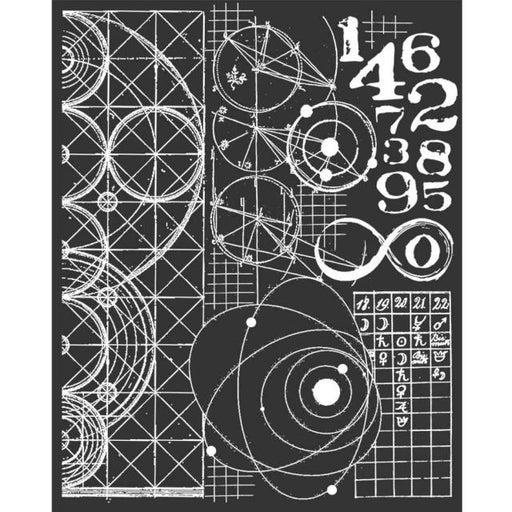 STAMPERIA STENCIL 20CM X 25CM   COSMOS ASTRONOMY NUMBERS