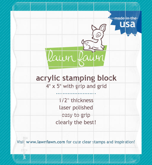 LAWN FAWN ACRYLIC STAMP BLOCK 4 X 5 GRIPS & GUIDE