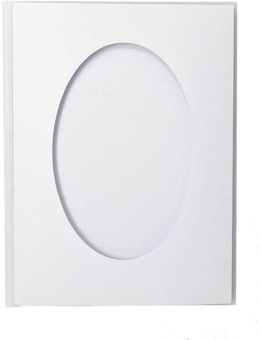 PK50 WHITE TEXTURED LARGE OVAL CUTOUT 3 PANEL CARDS & ENV