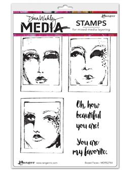 DINA WAKLEY CLING STAMP  BOXED FACES