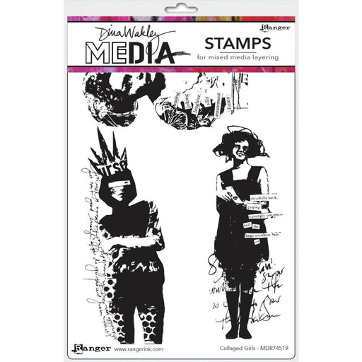 DINA WAKLEY CLING STAMP  COLLAGED GIRLS
