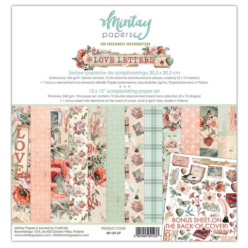 MINTAY BY KAROLA 12 X 12 PAPER SET - LOVE LETTERS