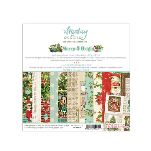 MINTAY BY KAROLA  6 X 6  PAPER PAD  MERRY AND BRIGHT