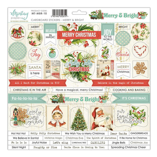 MINTAY BY KAROLA 12 X 12  CARDBOARD STICKER  MERRY AND BRIGH