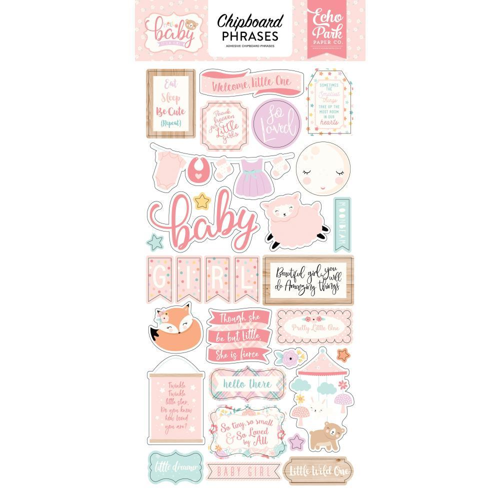 ECHO PARK HELLO BABY ITS A GIRL CHIPBOARD PHRASES