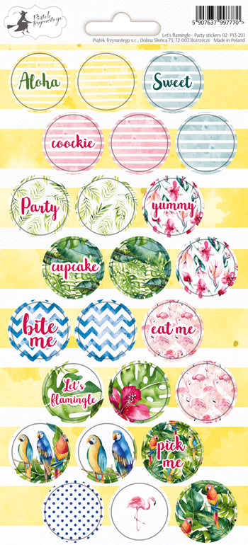 PIATEK TRZYNASTEGO PARTY STICKER SHEET LETS FLAMINGLE 02
