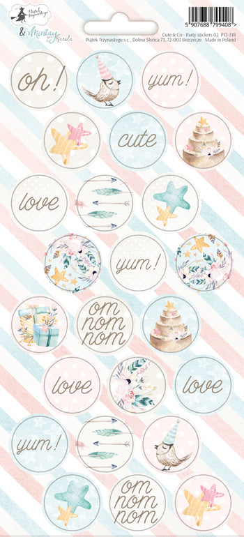 PIATEK TRZYNASTEGO PARTY STICKER SHEET  CUTE AND CO 2