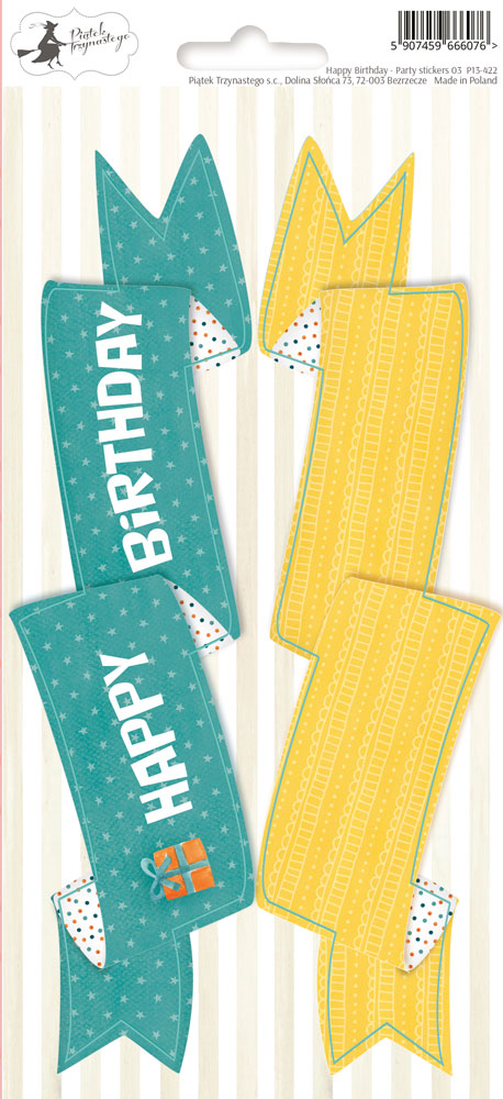 PIATEK TRZYNASTEG  PARTY STICKER SHEET HAPPY BIRTHDAY 3