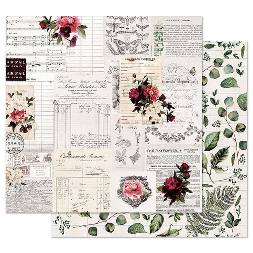 PRIMA  12 X 12  PAPER  MIDNIGHT GARDEN ROSE RECEIPTS