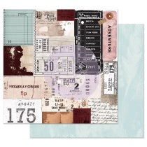 PRIMA  12 X 12  PAPER  MIDNIGHT GARDEN TRAVELING TICKETS