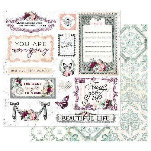 PRIMA PRETTY MOSAIC COLLECTION  12 X12 PAPER BEAUTIFUL LIFE