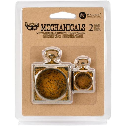 PRIMA  MECHANICALS METAL EMBELLISHMENTS POCKET WATCHES 2 PC
