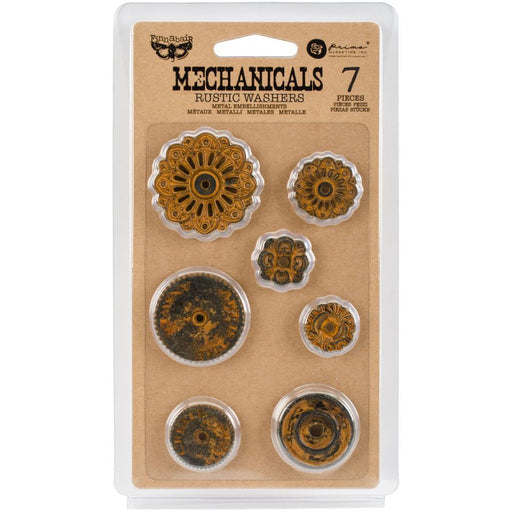 PRIMA  MECHANICALS METAL EMBELLISHMENTS RUSTIC WASHERS  7 PC