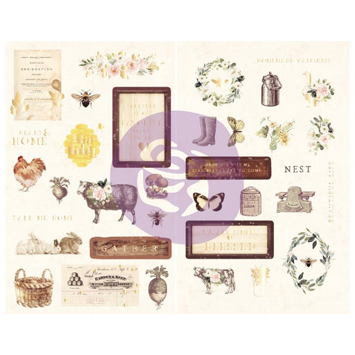PRIMA SPRING FARMHOUSE COLL CHIPBOARD STICKERS