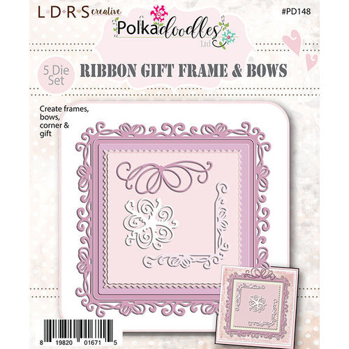 LITTLE DARLING DIE POLKADOODLES RIBBON GIFT  FRAME BOWS