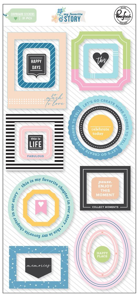 PINKFRESH MY FAVOURITE STORY CHIPBOARD FRAMES STICKERS